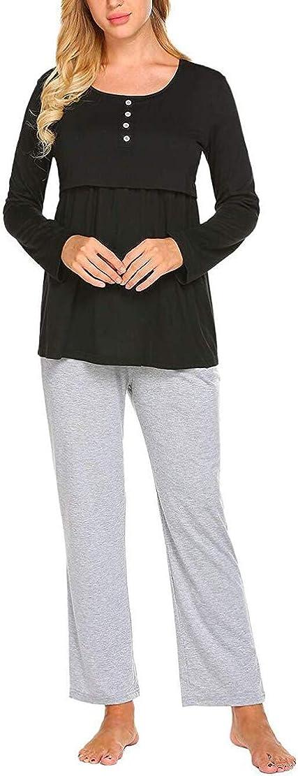 Pigiama Premaman Ospedale Manica Lunga Pigiami Allattamento Autunno e Inverno maternit/à Abbigliamento Gravidanza Cotone Top e Pantaloni Donna Incinta Due Pezzi S-2XL