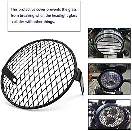 Sxgyubt 7 inch Motorcycle Universal Vintage Headlight Protector Retro Grill Light Lamp Cover Square net cover