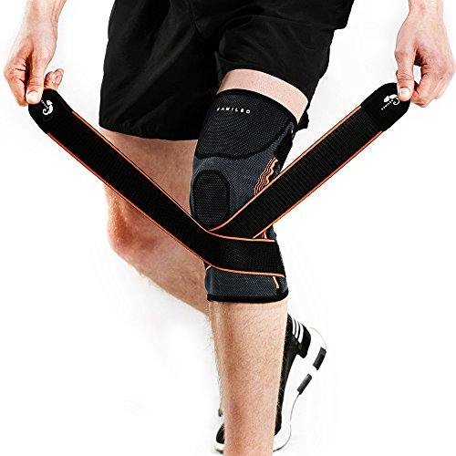 Kamileo Knee Brace, Knee Sleeve with Support Straps for Joint Pain Arthritis Relief (Single)