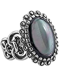 Sterling Silver Grey Mother Of Pearl Ring