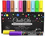 Chalk Markers - Pack of 10 neon color pens - For Chalkboard, Whiteboard, Blackboard, Window, Labels, Bistro, Glass - Wet Wipe Erasable - 6mm Reversible bullet & chisel Tip