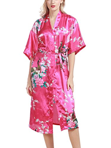Feoya - Albornoz Ropa de dormir Kimono para Mujer Estampado Floral Pavo Real Vestido de Baño Verano Primavera Rosa oscuro