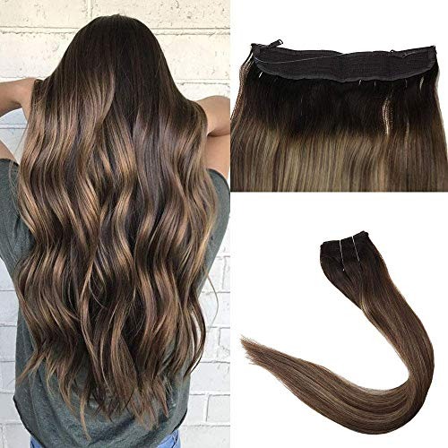 Easyouth Fish Line Hair Extensions 18 inch 80g Color 2 Dark Brown Fading to 3 Highlight with Honey Blonde Single Clip in Extensions Hair on A Wire Extensions