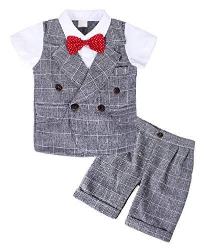 MetCuento Baby Boy Formal Clothes Gentleman Outfit Short Sleeve Rompers with Bow Tie Tuxedo Onesie(3-4 Years) Gray