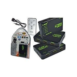 HUB HDMI Switch 5 puertos control remoto 1080p Amplificador HDMI Full HD