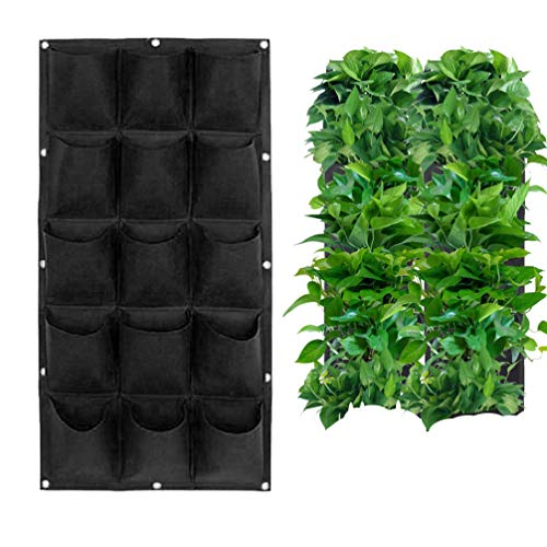 TureLaugh Upgraded 18 Pocket Hanging Vertical Garden Wall Planter for Yard Garden Home Decoration Deeper and Bigger, Flower Planter Grow Bag Hang Pouch - 18 Hanging Pockets