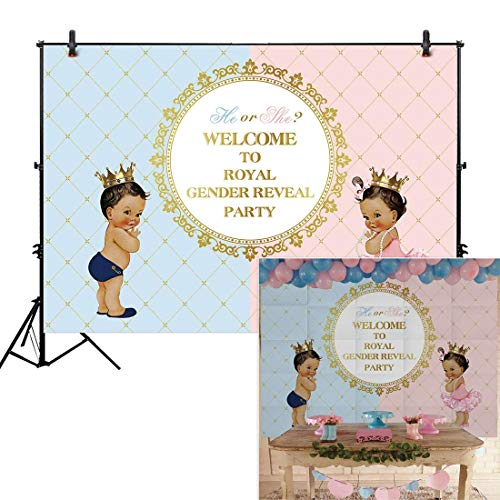 Allenjoy 6x4ft Royal Gender Reveal Theme Party Backdrop He Or She Princess Prince Boy Girl Birthday Baby Shower for Event Decorations Newborn Portrait Photography Pictures Pink Blue Cake Table -