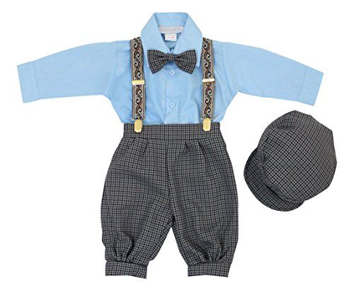 Luca Gabriel Vintage Baby Boys Toddlers Sky Blue Houndstooth Knicker Sling Set - 12m