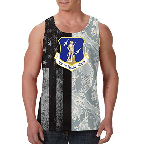 United States Air Force National Guard Mens Sleeveless Activewear Top Jersey Black