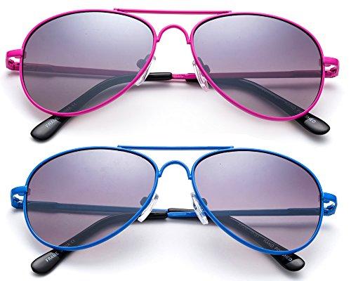 Newbee Fashion Kids Toddler Girls Cute Neon Colorful Aviator Sunglasses Lead Free UV Protection Spring Hinge (Age 1-5)]()