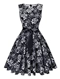 V Fashion Women's Boat Neck Sleeveless Cocktail Dress Floral Print Party Dress 50s Style Dresses with Belt