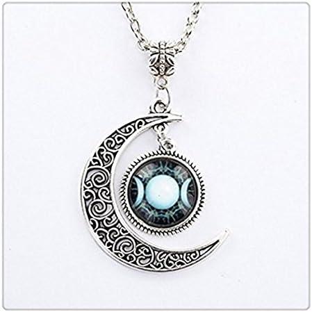 Triple D/éesse Lune Pendentif Wicca Bijoux Lune D/éesse Collier sorci/ère Colliers Collier ras du cou d/ôme en verre