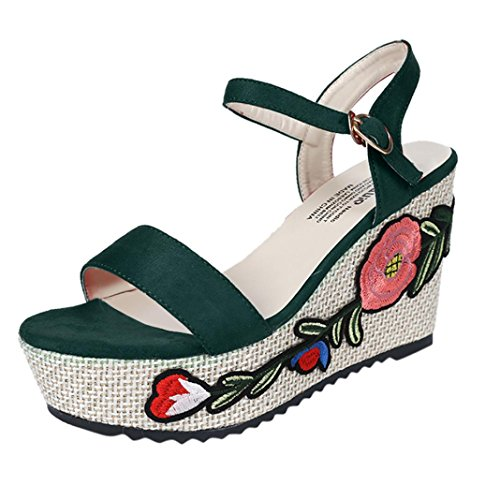 Embroidery Ankle Strap High Heel Wedges Slippers Side Sandals for Women Flat Flower Clearance Summer Bohemian Sandal Slipper Round Toe on Sale 2018 Fashion Shoes (US:5, Green)
