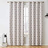 HLC.ME Ogee Trellis Print Pattern Blackout Grommet Curtain Panels for Bedroom - 99% Light Blocking - Thermal Insulated Decorative Pair for Privacy - Set of 2 (52 W x 84 L Inch, Platinum White/Taupe)