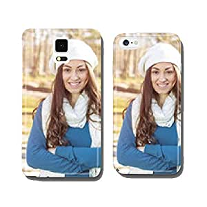 Happy Young Woman Outdoor Winter Fall cell phone cover case Samsung S5
