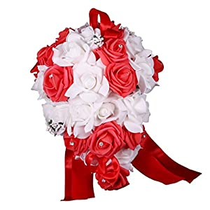 MonkeyJack Romantic Artificial Rose Crystal Cascade Wedding Bride Bouquet Hand Tied Flower - Red and White 108