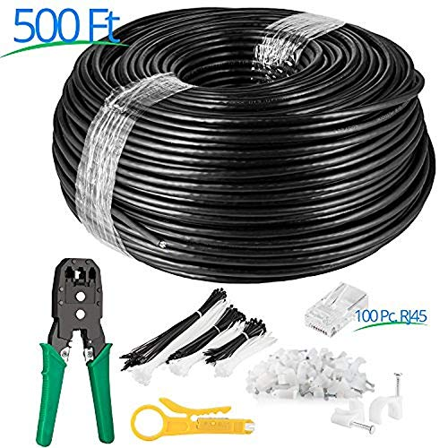 Maximm Cat5e UV Outdoor Cable (500ft - Black) Zero Lag Pure Copper, Waterproof Ethernet Cable Suitable for Direct Burial Installations.