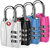TSA Approved Luggage Locks, Fosmon (4 Pack) Open Alert Indicator 3 Digit Combination Padlock Codes with Alloy Body for Travel Bag, Suit Case, Lockers, Gym, Bike Locks - Black, Blue, Pink, and Silver