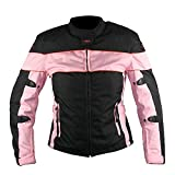 Xelement CF462 Womens Black/Pink Tri-Tex Fabric Motorcycle Jacket with Advanced - X