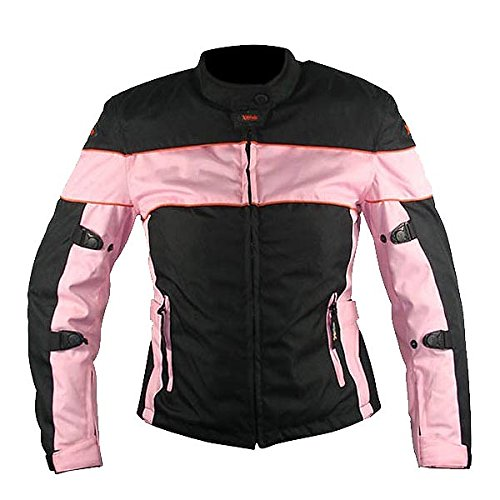 Xelement CF462 Womens Black/Pink Tri-Tex Fabric Motorcycle Jacket with Advanced - Large