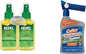 Repel Plant-Based Lemon Eucalyptus Insect Repellent, Pump Spray, 4-Ounce, Pack of 2 & Cutter Backyard Bug Control Spray Concentrate, 32-Ounce