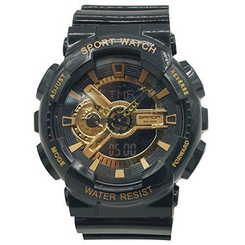 Sanda Teens Sports Watch Waterproof Shock Resist Dual Time Analog Digital Light Wristwatch - Black/Gold