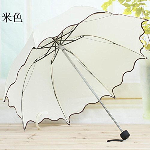 Water Babies Sunscreen Logo Costume (Kangma Flouncing Folding Lotus Leaves Princess Dome Parasol Sun/Rain Umbrella Beige)