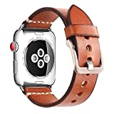 Mkeke Compatible Apple Watch Band 42mm Genuine Leather iWatch Bands Brown