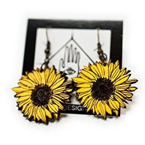 Sunflower Dangle Earrings | Handmade Eco-Friendly Fashion by Telestic Design