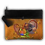 Thanksgiving Turkey With Black Hat Lightweight Trip Toiletry Bag Travel Receive Bag Organiser Portable Double Zipper Storage Bag