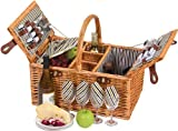 Picnic Plus Dilworth 4 Person Picnic Basket With Removable Insulated Cooler, Holds 3 Bottles