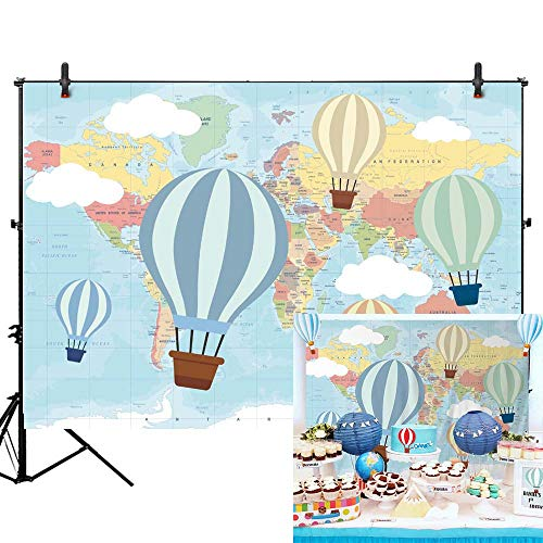 Allenjoy 7x5ft Hot Air Balloon Birthday Backdrop Oh The Places You'll go Photography Background Travel and Adventure Pilot 1st First Birthday Baby Shower Party Table Decor Photo Studio Prop -