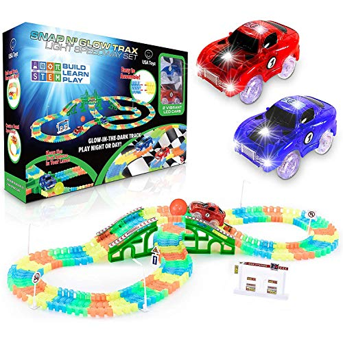 USA Toyz Glow Race Tracks for Boys or Girls - Glow in The Dark Race Car Tracks for Kids, 360pk Flexible Rainbow Race Track Set w/ 2 Light Up Snap Trax Toy Cars