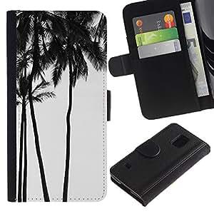 Paccase / Billetera de Cuero Caso del tirón Titular de la tarjeta Carcasa Funda para - Trees Black White Photo Sky - Samsung Galaxy S5 V SM-G900