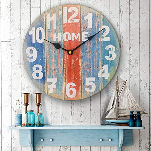 Vintage Wooden Round Wall Clock,Shabby Chic Wood Farmhouse Silent Clock,Rustic Decorative Hanging Clocks, for for The Living Room, Kitchen, Bedroom, and Non-Ticking (12 inch)