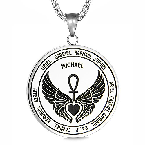 (Archangels 12 Guardian Angels Medallion Wings Heart Ankh Life Power Magic Amulet Pendant 18 Inch Necklace)
