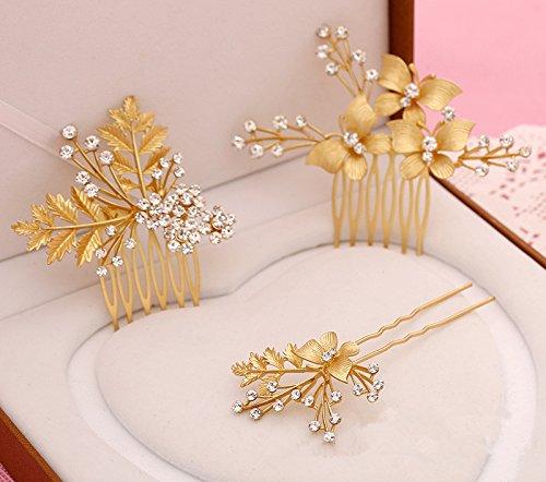 Meiysh Women's Gold Plated Hairpin Bridal Barrette Headpiece Hair Stick Ornaments Comb(3 pcs)