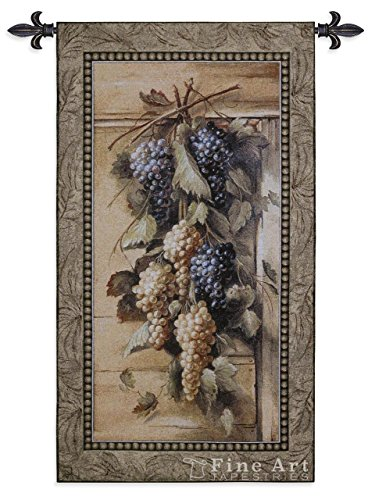 Poetic Grapes by Riccardo Bianchi - Woven Tapestry Wall Art Hanging for Home Living Room & Office Decor - Garland Purple White Grapes Fruit Classic Themed Artwork - 100% Cotton - USA 45X26