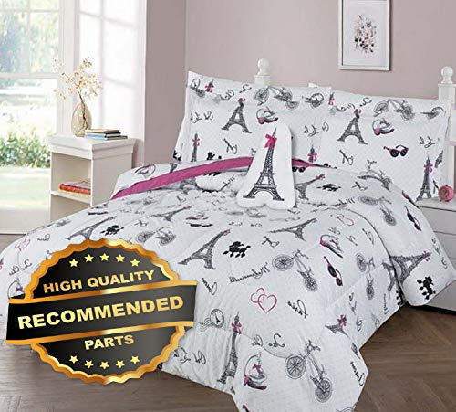 Werrox Paris OH LALA Comforter Bed Sheet Set Window Panel Valance for Kids Teens Size | Quilt Style QLTR-291267458