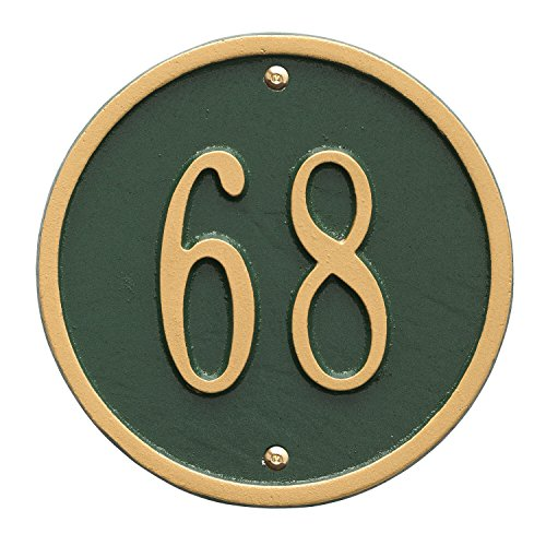 (Whitehall Products Round Petite Green/Gold Wall 1-Line Address Plaque)