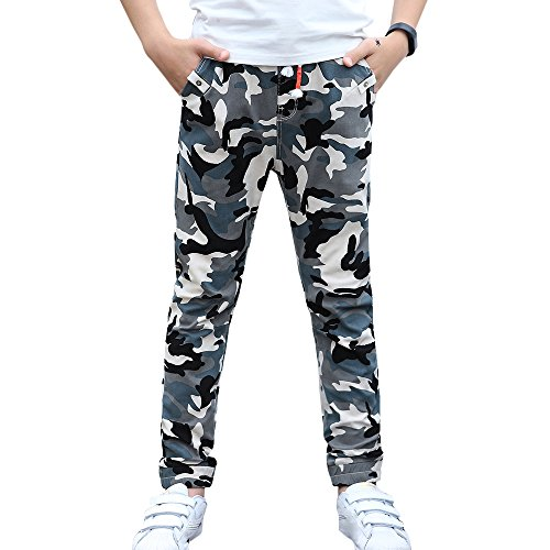 - CNMUDONSI Big and Teenager Boys Pants Cotton Long Casual Camouflage Spring Autumn Clothing (14, M735-Blue)