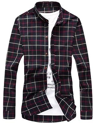 YUNY Men's Premium Cotton Plaid Long Sleeve Dress Shirts