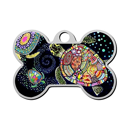Stainless Steel Bone Pet Dog & Cat ID Collar Tag Indian Pattern Sea Turtle Personal Custom with Pet Name & Contact Number