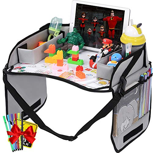 - Innokids Kids Travel Lap Tray Children Car Seat Activity Snack and Play Tray Desk with Erasable Surface, iPad & Tablet Holder, Detachable Organizers for Cars, Planes & Baby Stroller (Gray)