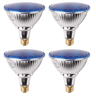 7Pandas Indoor/Outdoor 14W LED PAR38 W/Blue Light, Waterproof Flood Light Bulb, Glass Body, 90W Halogen Equivalent, 1200 LM, ETL Listed, Pack of 4