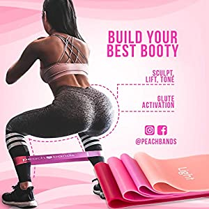 Peach Bands | Premium Matte Resistance Loop Bands | Pink Set of 4 with Carrying Bag | Exercise Fitness Booty Bands for Legs and Glutes | Physical Therapy, Stretch, Elastic, Strength, Home Workout from Peach Bands Fitness