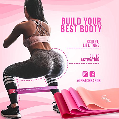 Peach Bands | Premium Matte Resistance Loop Bands | Pink Set of 4 with Carrying Bag | Exercise Fitness Booty Bands for Legs and Glutes | Physical Therapy, Stretch, Elastic, Strength, Home Workout