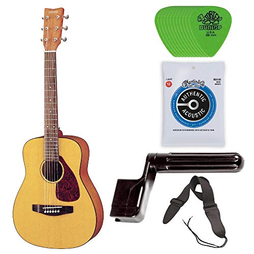 Yamaha JR1 3/4 Size Steel String Acoustic Guitar Bundle with Gig Bag, Strap, Strings, Winder and - Guitar Strings Steel Folk
