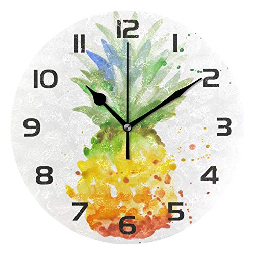 (TropicalLife Summer Fruit Pineapple Decorative Wall Clock Acrylic Round Clocks Non Ticking Art Decor Bedroom Living Room Kitchen Bathroom Office School)