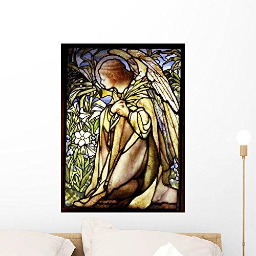 Wallmonkeys Stained Glass Window of a Kneeling Angel Peel...